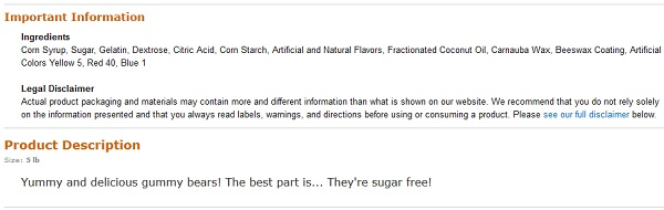 haribo sugar free gummy bears product description