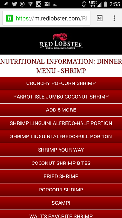 Red Lobster Nutrition Facts Mobile