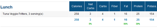 Macros for Low Carb Fritters