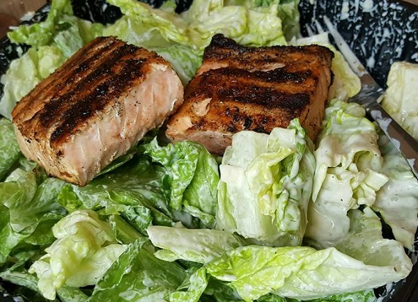 Healthy Low Carb Take-Out - Caesar Salmon Salad