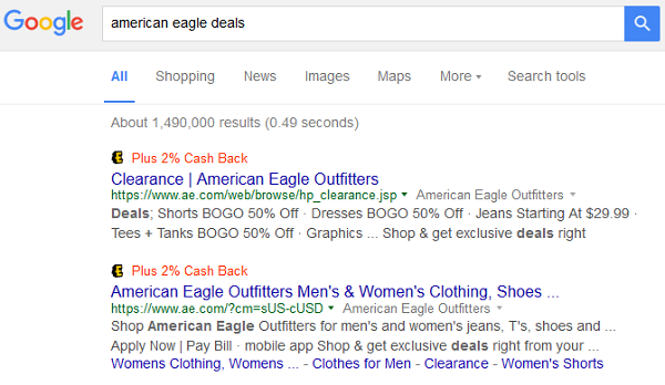 Ebates in Google Search