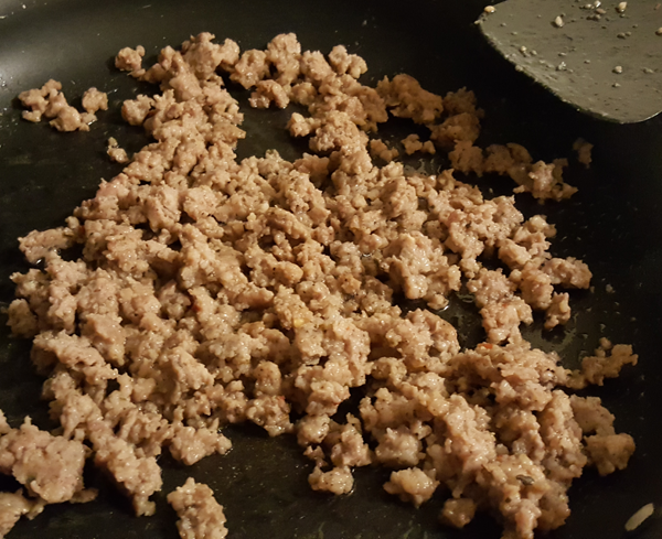 Cooking Ground Sausage for Stuffed Mushrooms