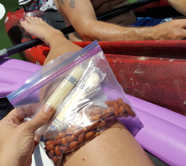 Low Carb Snack on the river (Almonds & String Cheese)