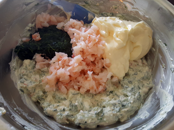 Creating Low Carb Spinach Dip with Shrimp