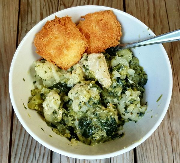 Healthy Low Carb Meal : Chicken & Veggie Stew with Parmesan Bread