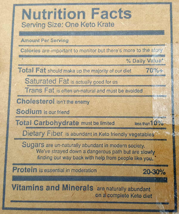 Keto Krate Nutrition Facts