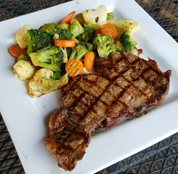 Low Carb Restaurant Meal - Delmonico Ribeye w/Roasted Vegetables