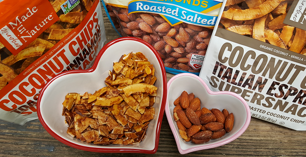 Healthy Snacks - Coconut Chips and Almonds