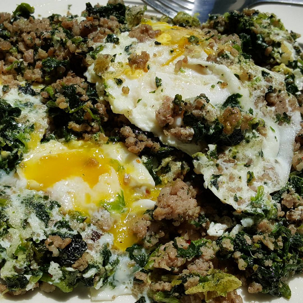 Spinach & Sausage Topped With Fried Eggs