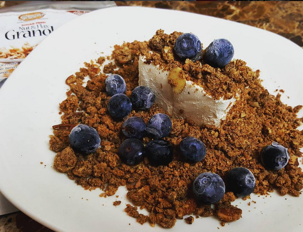 Low Carb Nut & Flax Granola (with cream cheese & blueberries)