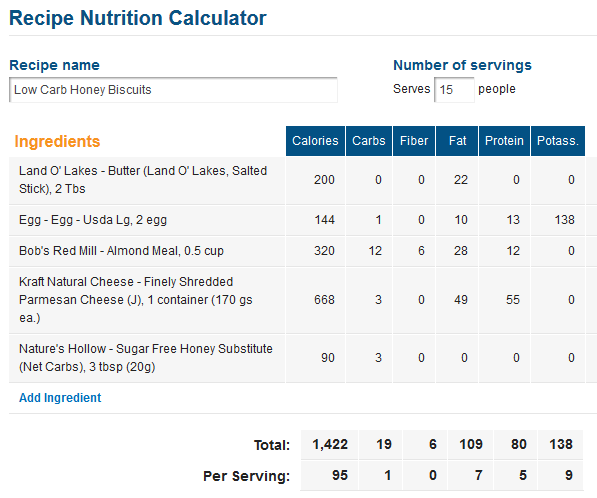 Free Low Carb Recipe Calculator