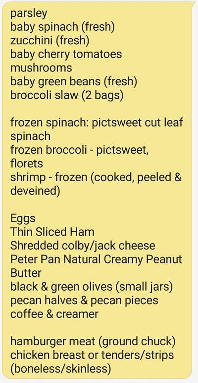 Low Carb Grocery List