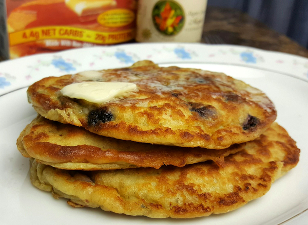 Low Carb High Protein Blueberry Pancakes