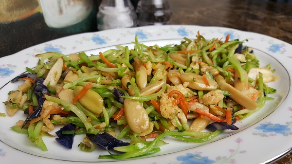 Healthy Low Carb Dinner : Sauteed Broccoli Slaw with Pili Nuts & Parmesan Whisps tossed in
