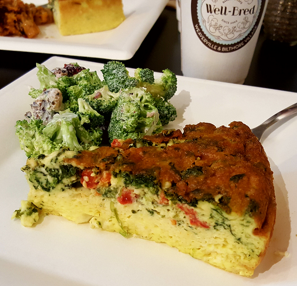 Crustless Quiche & Broccoli Salad at the Well Bred Bakery in Asheville - Gluten Free, Low Carb Meal