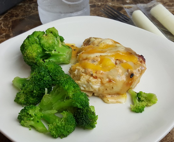 Low Carb Leftovers from Applebee's - Smothered Chicken and Steamed Broccoli