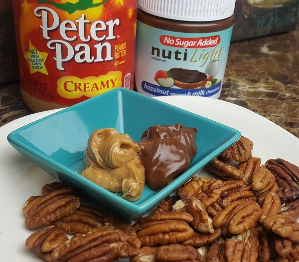 Sugar Free Nutella and Peanut Butter - Dipping Pecans! LCHF Snack