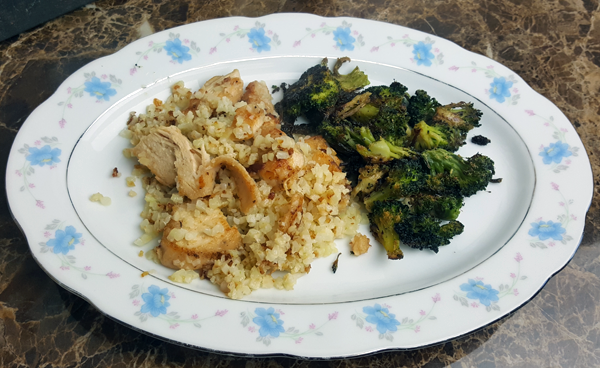 Healthy Low Carb Dinner: Grilled Chicken over Cauliflower Rice with Roasted Broccoli