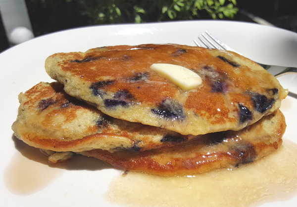 LCHF Blueberry Pancakes with Sugar Free Syrup