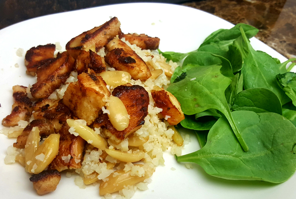 Easy Low Carb Dinner: Cauliflower Rice & Chicken with Spinach