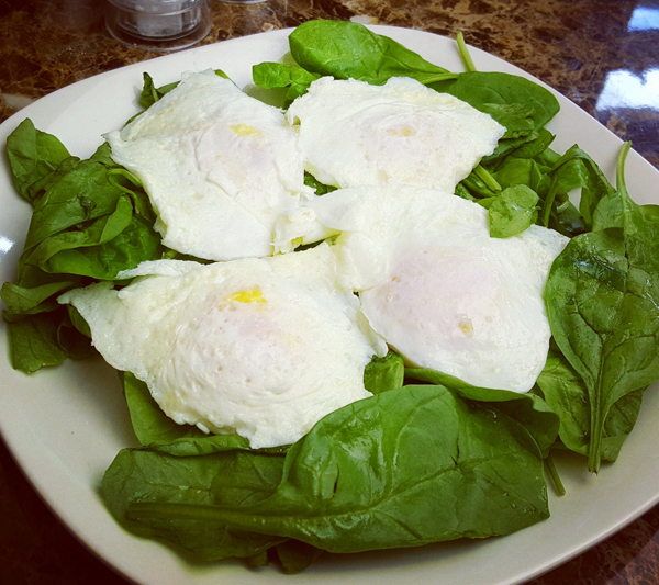 Fried Eggs over Baby Spinach - Low Carb Meal, Vegetarian