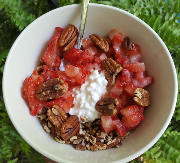 Low Carb Foods - Pecans, Strawberries, Daisy Brand Cottage Cheese