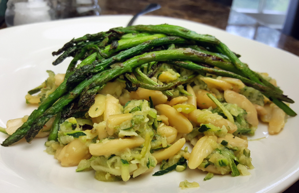 Low Carb Vegetarian Meal - Zucchini Noodles & Pili Nuts topped with Asparagus (for Keto Vegetarians, Gluten Free)