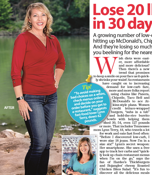 Lynn Terry in Woman's World Magazine - Fast Food Atkins Article, Page 20