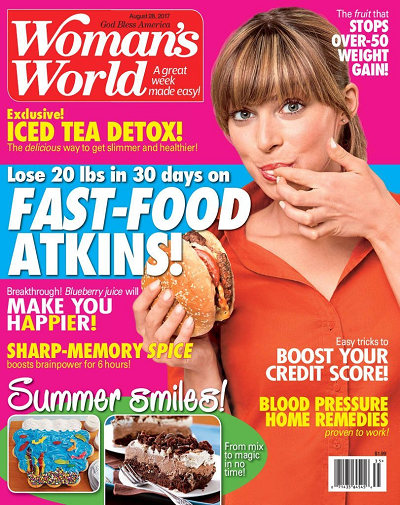Woman's World Magazine - Fast Food Atkins, August 2017