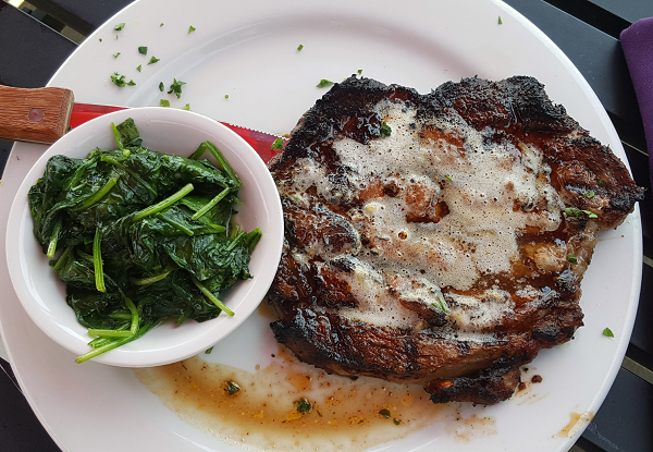 Low Carb Restaurant Meal: Blackened Ribeye with Sauteed Spinach
