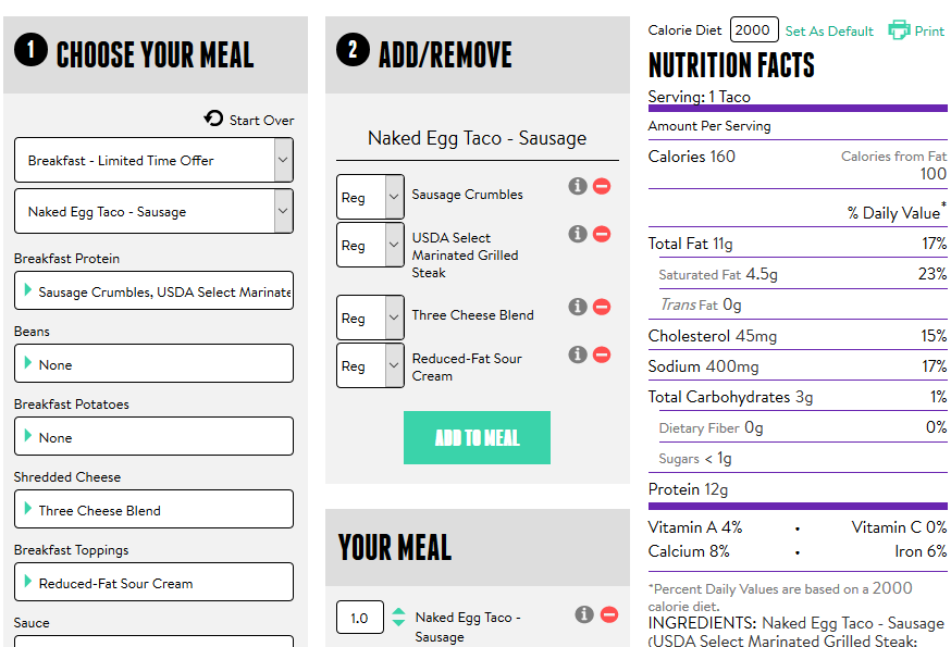 Taco Bell Nutrition Calculator
