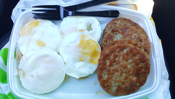 Low Carb Road Trip - McDonalds All Day Breakfast (Sausage and Fried Eggs)