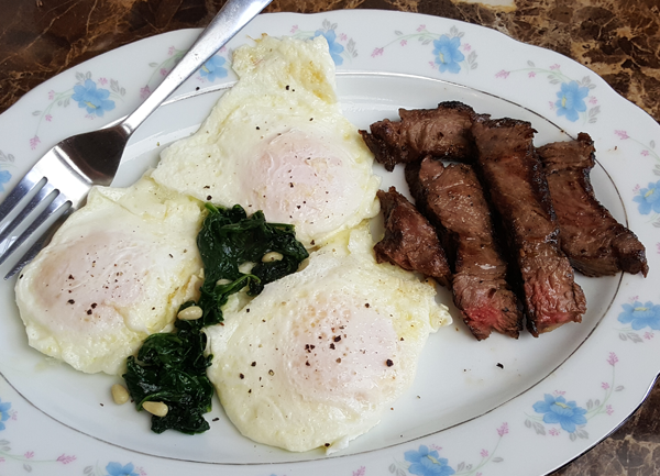 Keto Breakfast - Steak and Eggs with Spinach