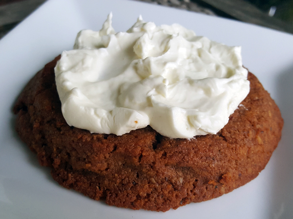 Low Carb Meal Replacement - LCHF Gluten Free Cinnamon Cookie topped with Cream Cheese