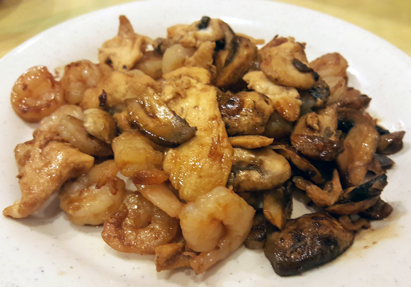 Low Carb Hibachi with Shrimp, Chicken and Mushrooms