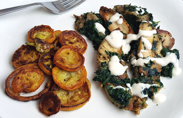 Low Carb Dinner - Chicken, Spinach and Squash Meal