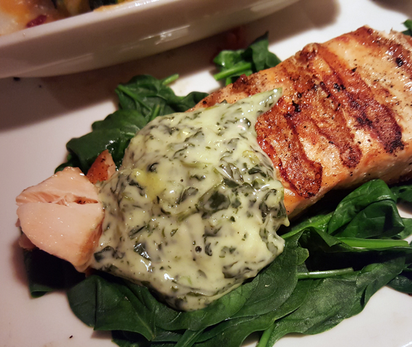 Healthy Low Carb Meal: Grilled Salmon and Spinach with Spinach Artichoke Dip