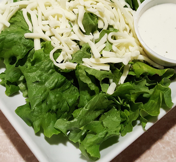 Low Carb Restaurant Sides - Romaine Salad with Fresh Mozzarella