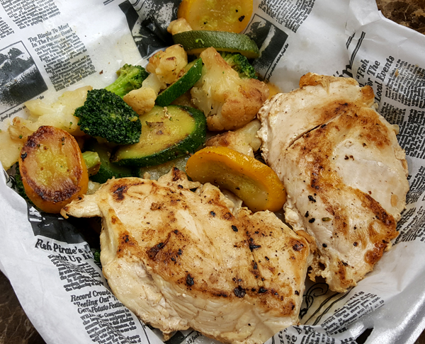 Low Carb Takeout - Grilled Chicken and Sauteed Veggies