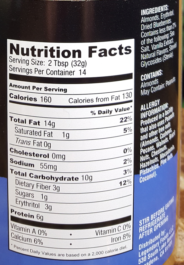 Blueberry Nut Butter Nutrition Facts