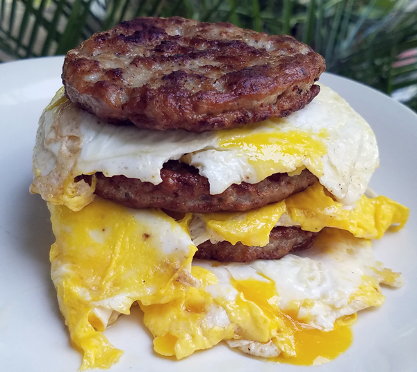 Keto Zero Carb Sausage and Egg Stack - Low Carb Breakfast Ideas