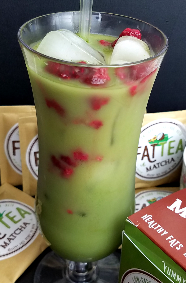 Low Carb Fruit Tea - Keto Matcha MCT Tea with Raspberries