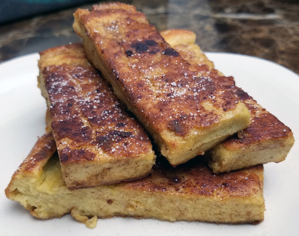 Low Carb Breakfast Ideas - Egg Loaf made into Keto French Toast Sticks