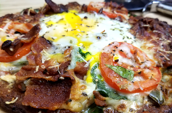 Low Carb Breakfast Pizza on a Keto Crust