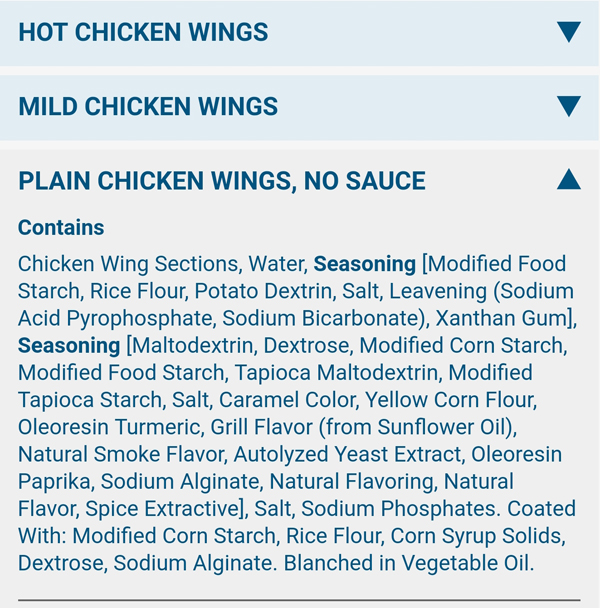 Domino's Plain Chicken Wings Ingredients - NOT Keto Friendly!