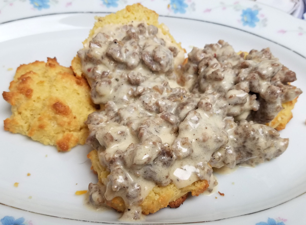 Keto Breakfast - Sausage Gravy and Biscuits