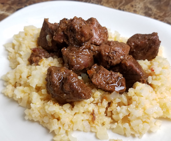 Easy Keto Dinner Ideas - Beef Tips over Cauliflower Rice