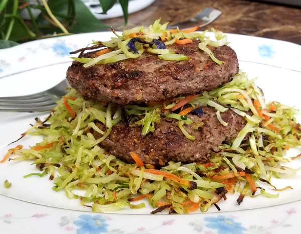 Easy Keto Dinners - Broccoli Slaw with Hamburger Patties