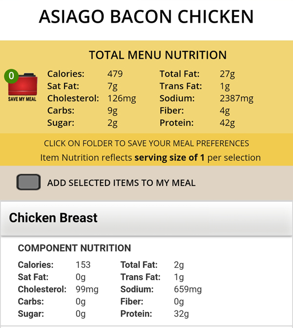 Ruby Tuesday Keto Meals - Nutrition Facts
