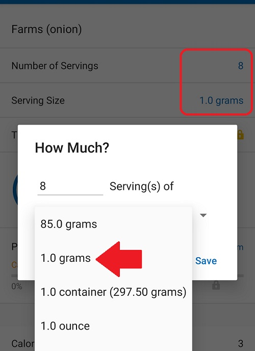 MyFitnessPal Entries For Different Serving Sizes